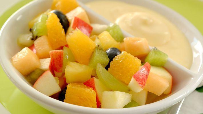 MatPrat - Fruktsalat med råkrem