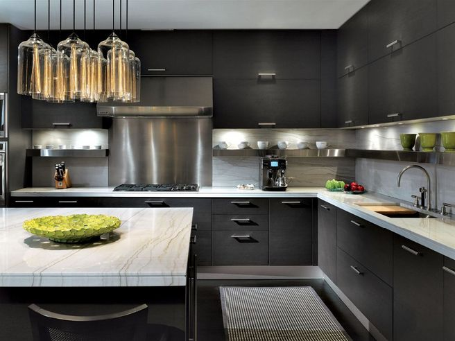 kitchen idea - but maybe with lighter cabinets