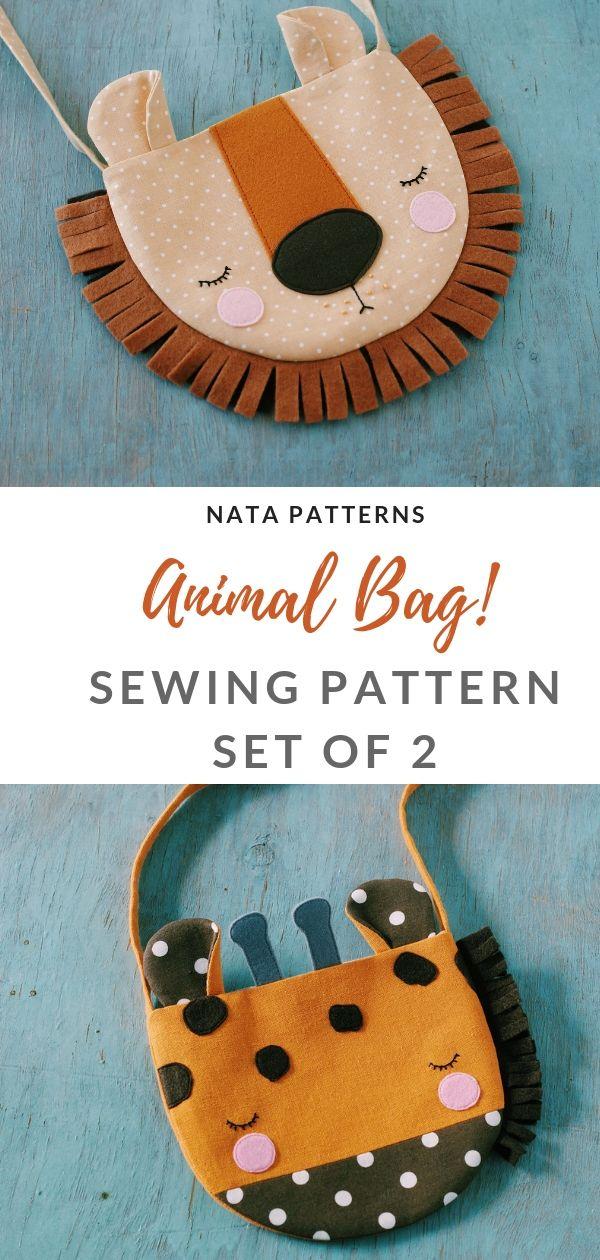 PDF Sewing pattern animal bag for kids Lion bag for girls Giraffe bag for childr…