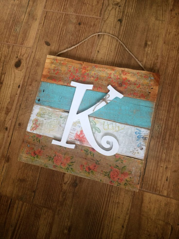 Monogrammed Door Hanger with Distressed Floral Decoupaged Wood, Farmhouse Initial Sign, Baby Girl Personalized Sign, Country Flowers Sign, by SunshineAndSas on Etsy