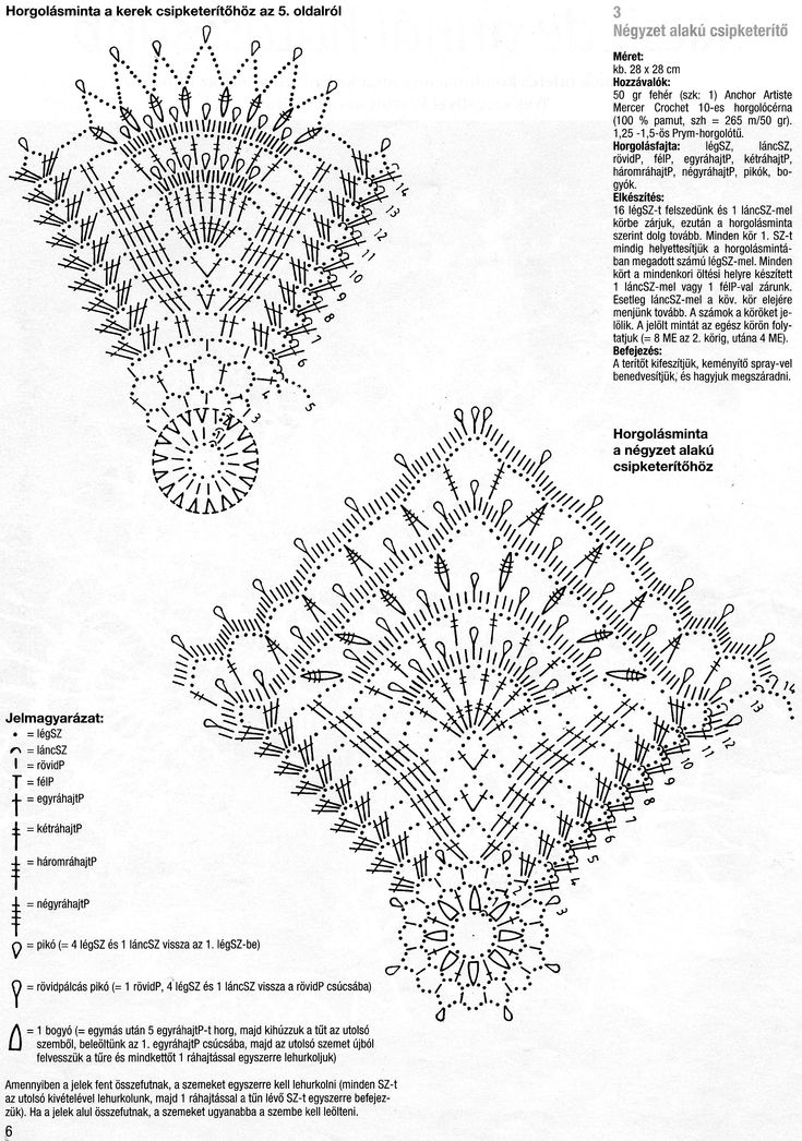 Diagrams for 2 crochet doilies - one round and one square