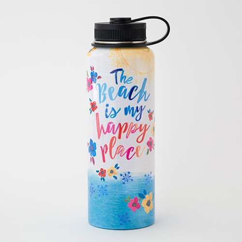 Beach is my Happy Place Large Water Bottle - Keep your cold drinks cold and your hot drinks hot all day long with our new Large Water Bottle. Made with double-walled stainless steel that's non-toxic, non-leaching + BPA free. Vacuum-sealed to keep liquids and carbonation fresh. The perfect size to take on the go for any adventure!