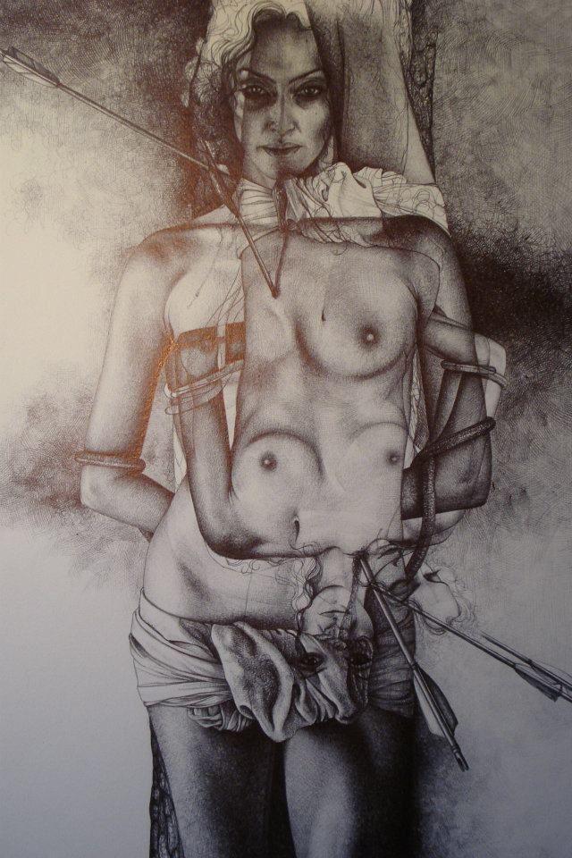 """""""S.SEBASTIANO"""" disegno a BIC su carta 33x48cm Roma 2011"""