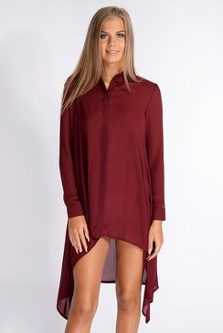 Nadia Burgundy Dip Side Shirt Dress