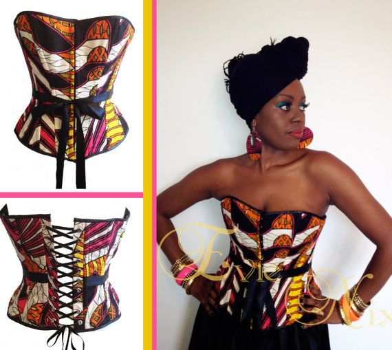 CUSTOM MADE African Print Corset Top on Etsy, $191.06