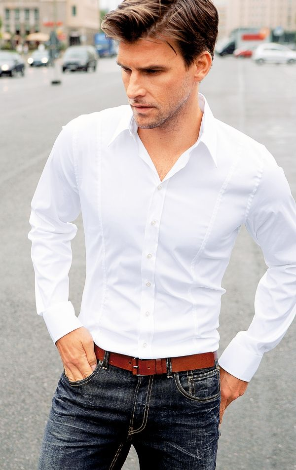 The crisp white button down with the clean tailored vertical lines ...