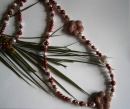 """31"""" CRANBERRY RED BEADED NECKLACE WITH LAVA ROCK & SILVER DETAIL - Creative Connections"""