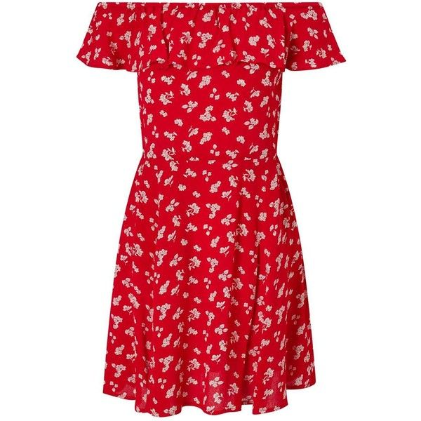 Miss Selfridge Red Floral Print Bardot Skater Dress (3.170 RUB) ❤ liked on Polyvore featuring dresses, red, floral print dress, red mini dress, short red dress, floral skater dress and summer dresses