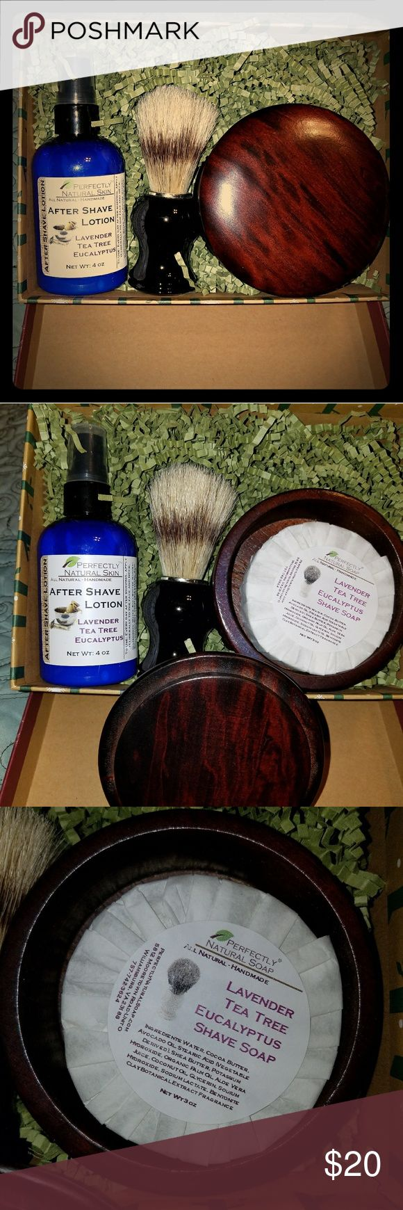 Men's Shave Kit ~ Lavender tea tree Eucalyptus It has shave soap and after shave lotion all are all natural and handmade the soap is 3oz and the after shave lotion 4oz it also includes a shave brush and shave bowl. Made by Perfectly Natural ~ NWOT ~ No trades and no low balls please and please. Thank you. Perfectly Natural  Other
