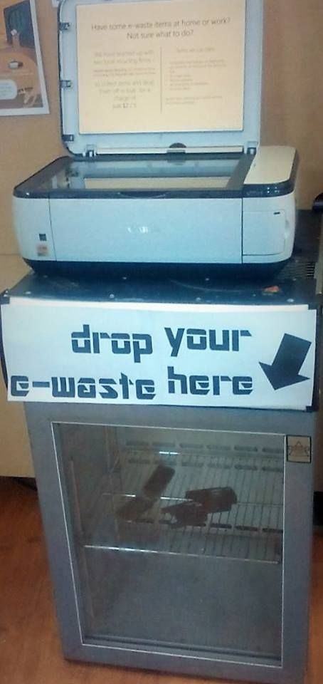 We've got an e-waste collection point setup during our e-waste display. Drop off your small items like mobile phones, printer cartridges, and power leads for a small donation of $2-5. We also have a list in-store of where you can take bigger items.. so either way, we're due a visit!
