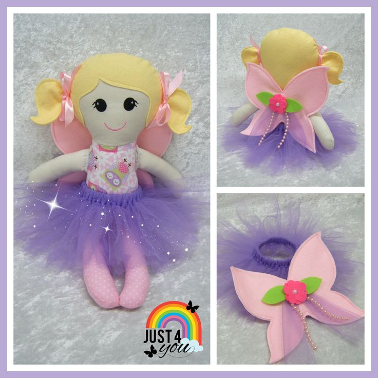 Cute Fairy Doll with removable Fairy Wings & Tutu.  Shes has an embroidered face & is approx 50cms tall.  Made at Just 4 You.    https://www.facebook.com/Just4YouNZ