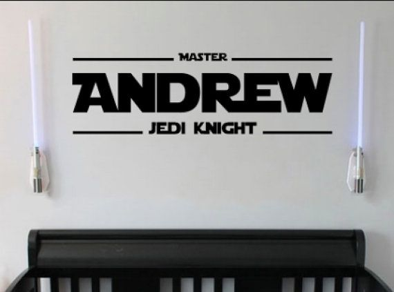 Master Jedi Knight wall decal sticker is shown in black but can be cut in any of our matte finish vinyl colors. Height of decal will vary based