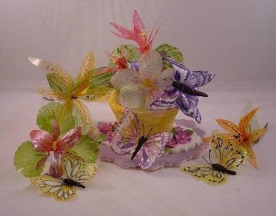 Gelatin Flowers and Butterflies
