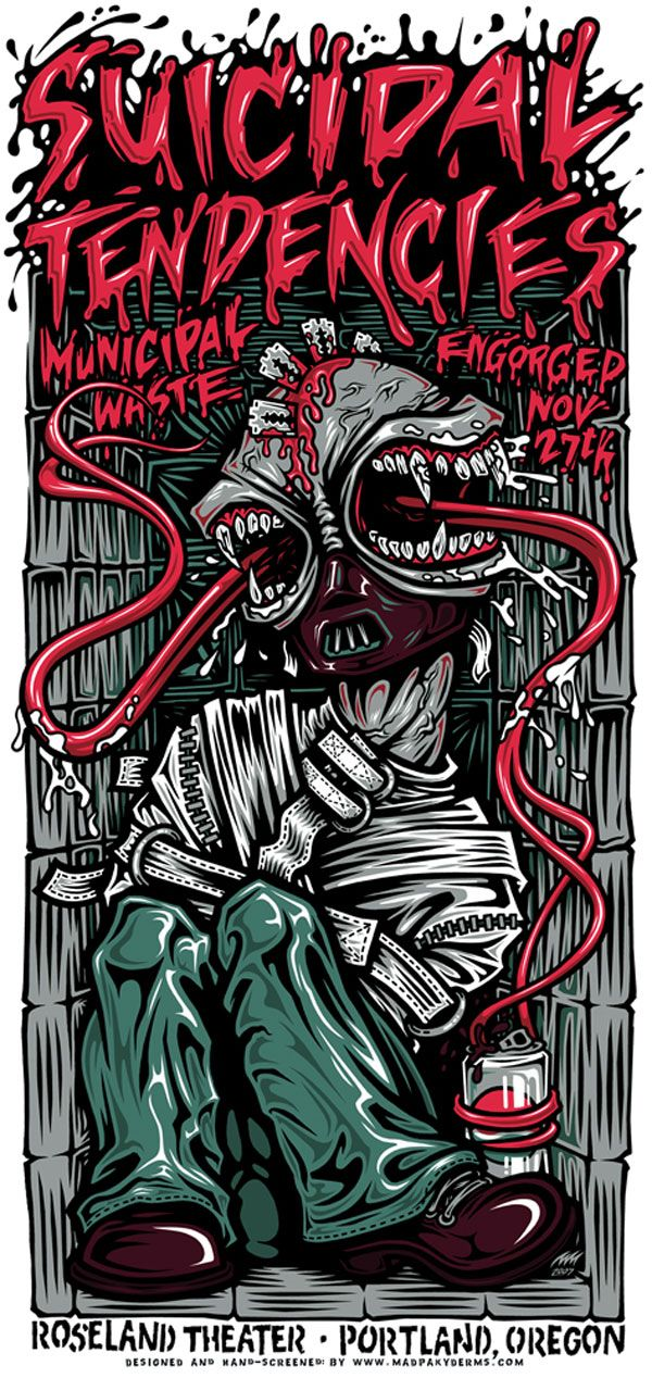 Suicidal Tendencies gig poster, Roseland Theater, Portland, OR