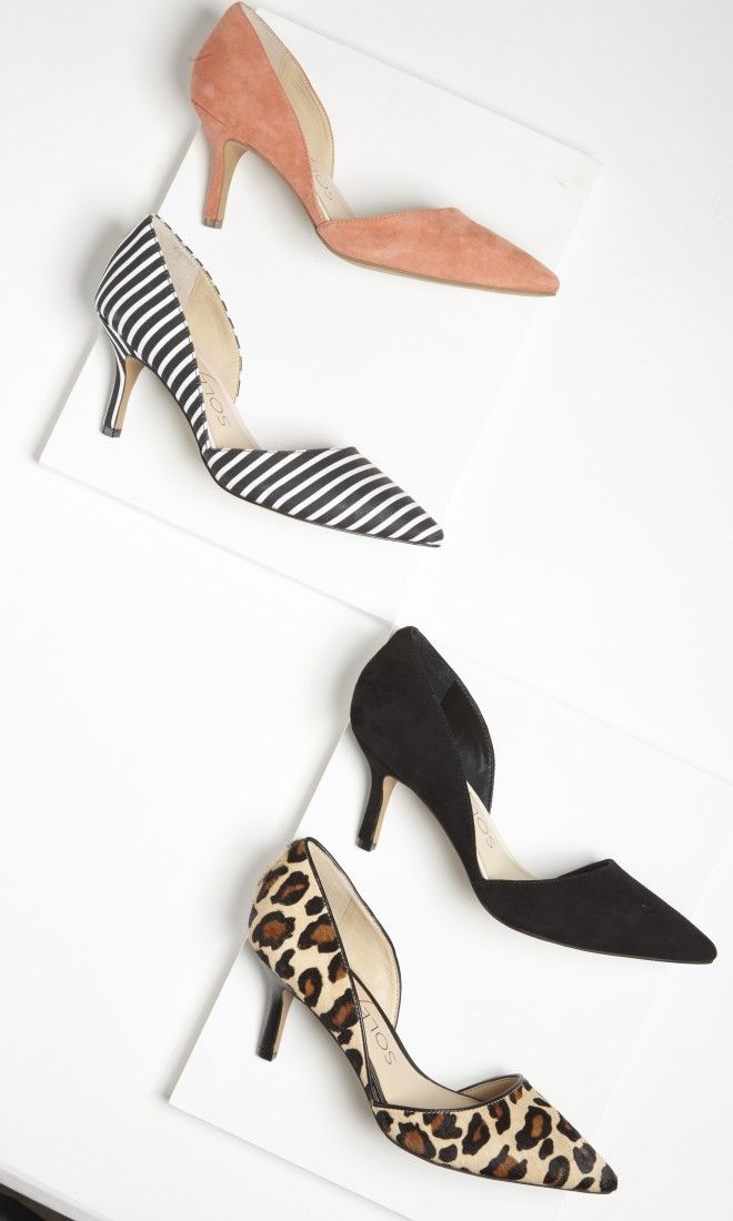 Pointed toe is IN again, and printed too! (d'Orsay mid heel with a pointed  toe and ultra-walkable heel. The epitome of office-to-out.