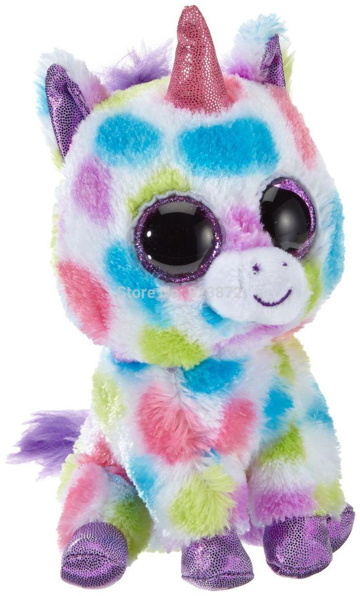 Animais de pelúcia Ty Beanie Boos Wishful unicórnio brinquedos de pelúcia grande 25 cm 10 '' Ty Eyed grande bichos de pelúcia brinquedo macio Uunicornio brinquedos(China (Mainland))