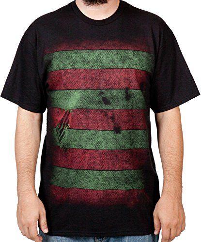 Mens Nightmare On Elm Street Freddy Krueger Mask T-Shirt Black Large @ niftywarehouse.com