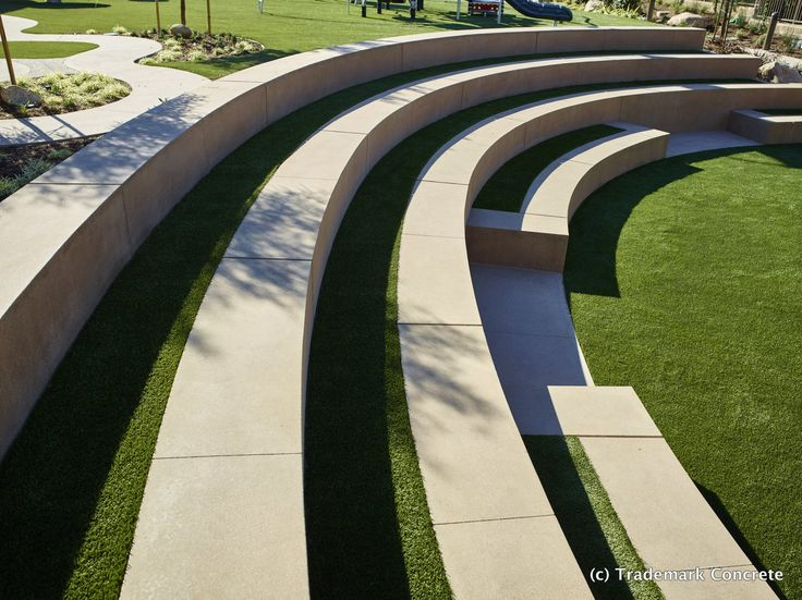 Decorative Concrete Installed By DCC Member Trademark Concrete   Integrally  Colored Radius Amphitheater Seat Walls With