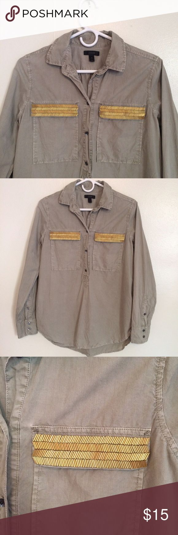 J Crew Cargo Shirt With Gold Beading Excellent Condition, worn 2x J. Crew Tops Button Down Shirts