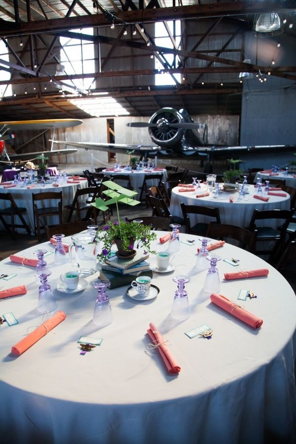 Rustic Sonoma Airplane Airport Wedding Reception Decor