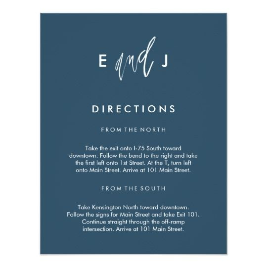 She and Him | Wedding Directions Card #directionscard