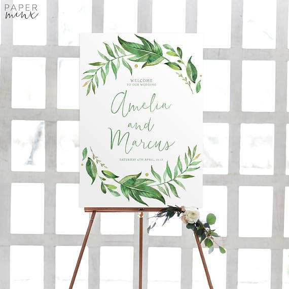 Greenery Welcome Sign  Printable Wreath Wedding Sign