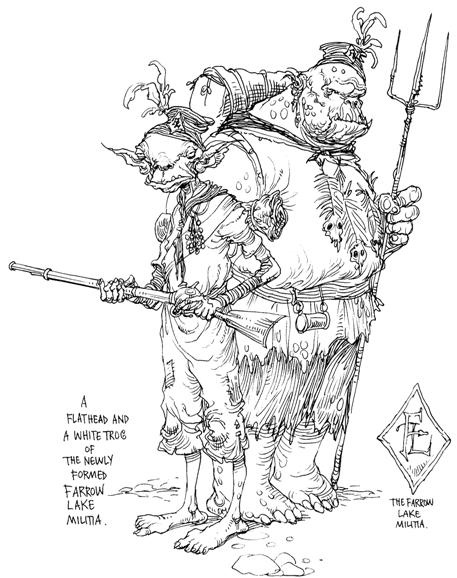 A Flathead Goblin and a white trog ready for #battle, from Chris Riddell and Paul Stewart's series The Edge Chronicles #edgechronicles #illustration