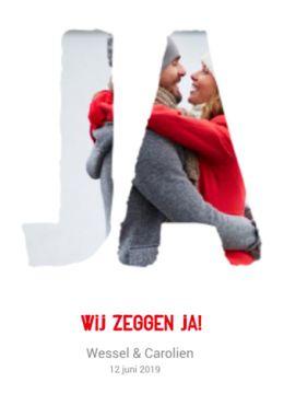 Stoere trouwkaart met eigen foto onder sjabloon JA'.