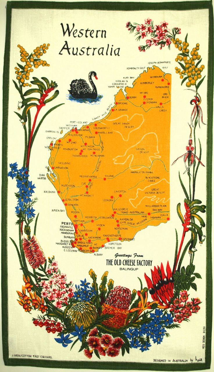 Western Australian & Wildflowers Souvenir Tea Towel - Vintage Retro Perth Swan Design by Neil - New Old Stock by FunkyKoala on Etsy