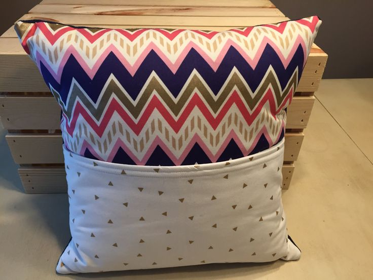 Chevron Pocket Pillow by thescrappyquilter22 on Etsy
