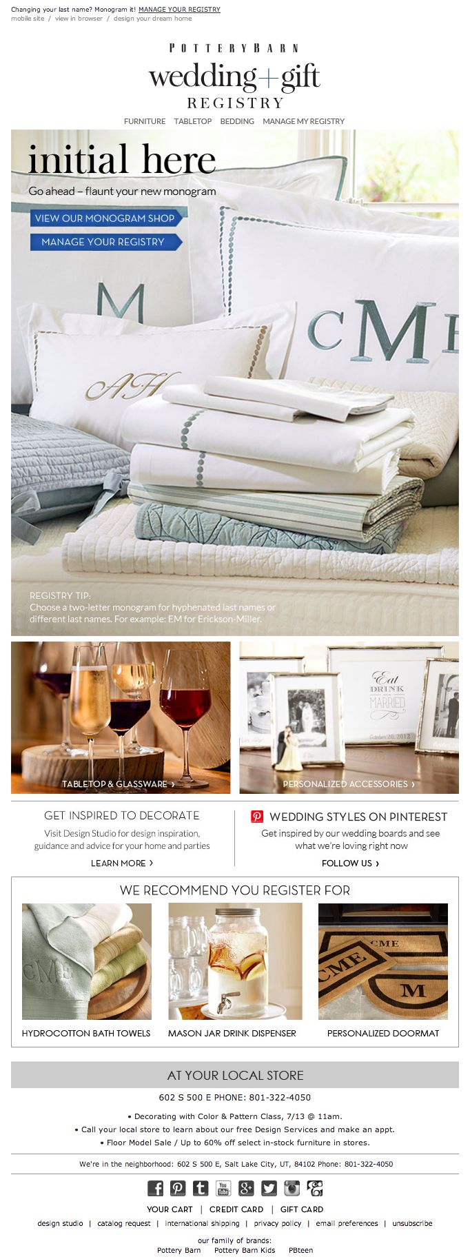 pottery barn wedding registry email 2014