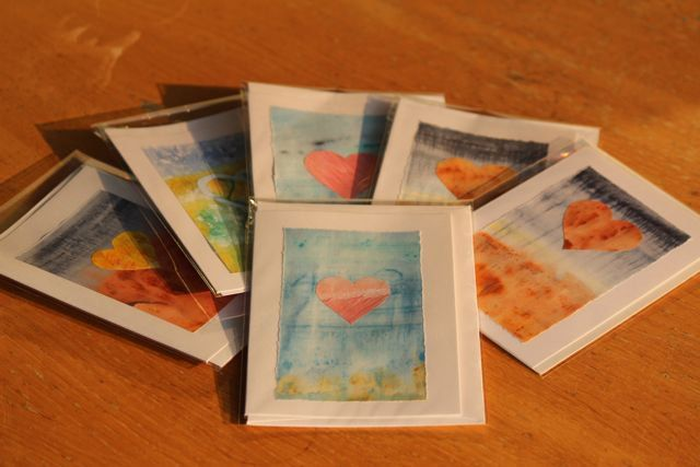 We make all our cards by hand - each and every one is unique. Styles include hearts, stars, fish and balloons.