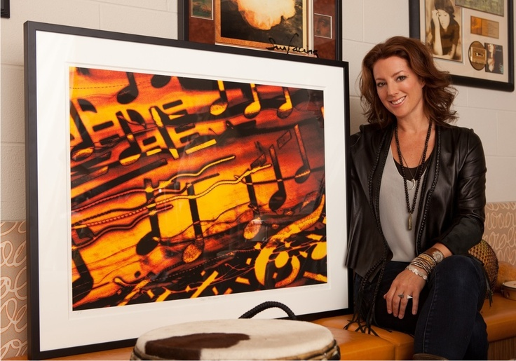 """Sarah McLachlan at her school of music in Vancouver with one of my artworks """"Songs for Sarah No.3"""""""