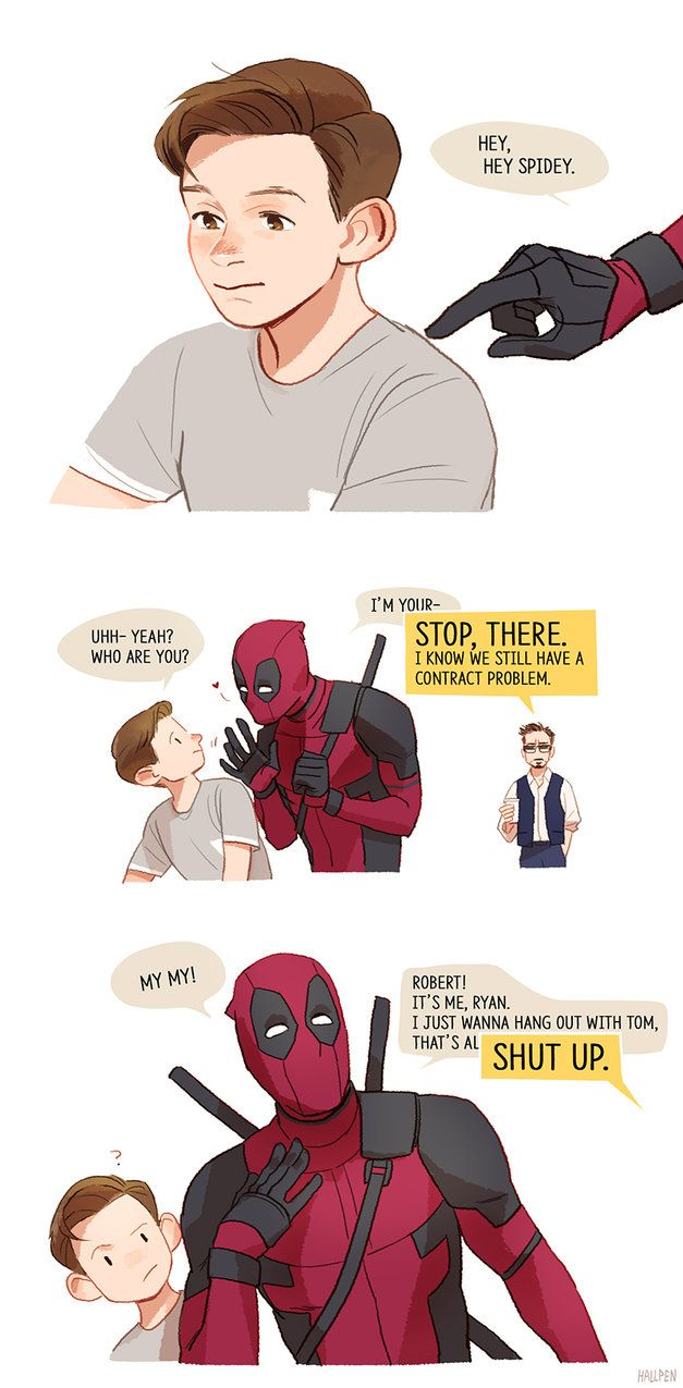 "rogers-and-stark: "" hey spidey by Hallpen "" It can be a good part of the new film)"