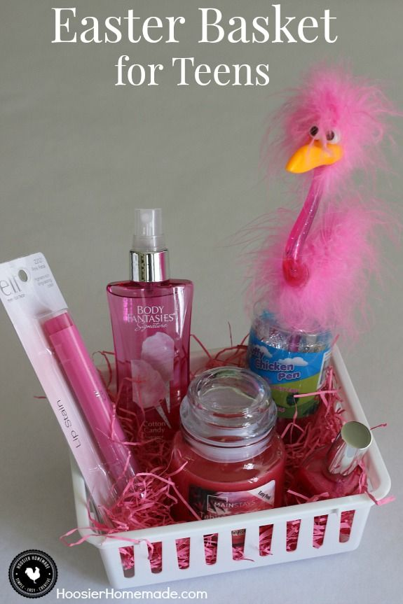Fill A Small Themed Easter Basket For Teens Filled With Pretty Pink Items Perfect For
