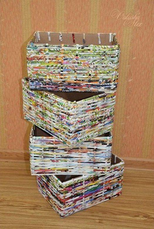 делаем коробки из газетных трубочек