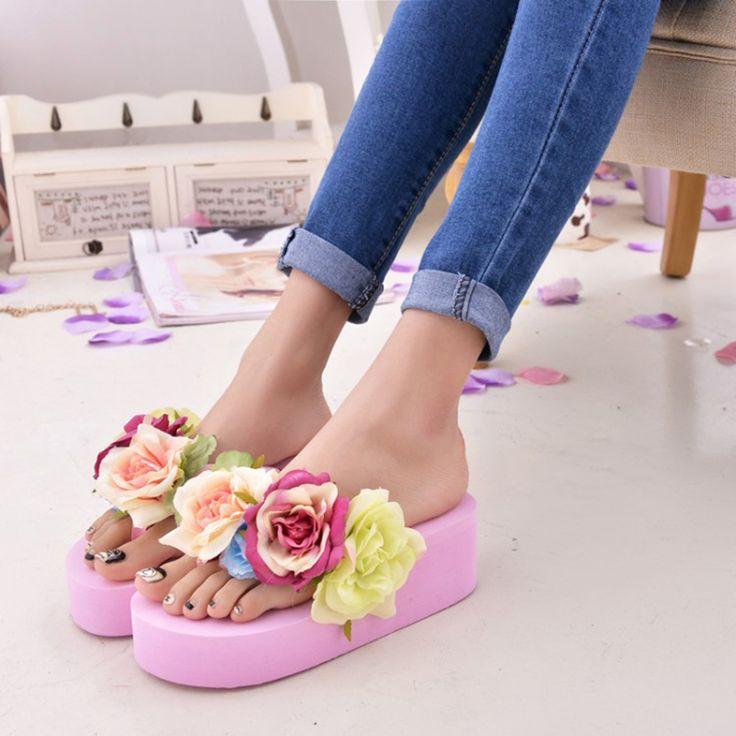 2016 Women Summer Sandals Fashion Flower Wedges Flip Flops Platform Slippers