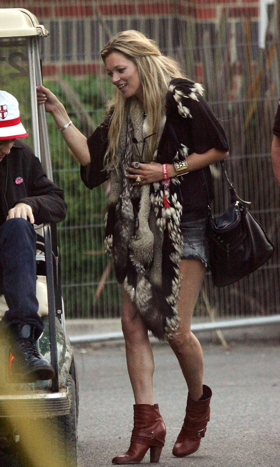 Kate Moss Re-Works Her Fur Coat From Glastonbury 2004 At Isle Of Wight Festival, 2010