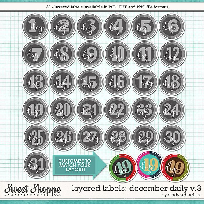 Cindy's Layered Labels: December Daily V.3 by Cindy Schneider
