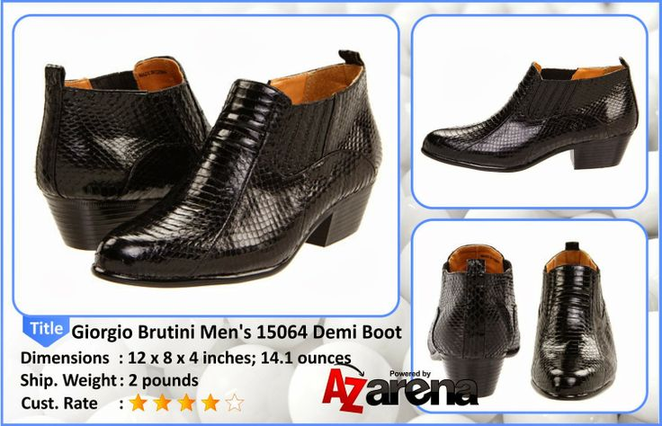 Giorgio Brutini Men's 15064 Demi Boot | The men's demi-boot from Giorgio Brutini is a pointy toe shoe in genuine snake skin with side gore for a great fit. They feature a durable man-made sole with pitched Cuban heel to turn up the heat night or day.
