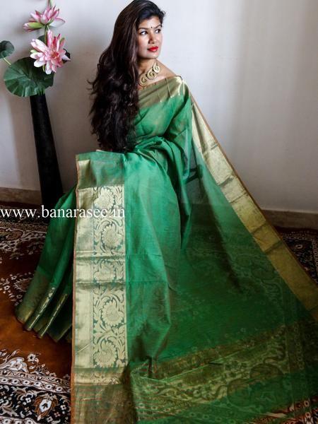 Banarasee/Banarasi Cotton Silk Mix With Zari Floral Border-Green