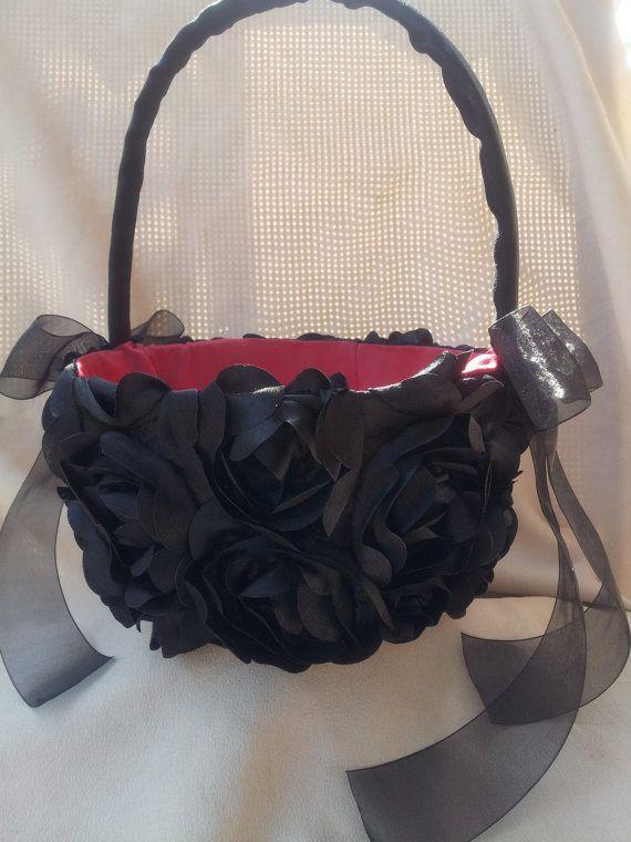 Black Red Flower Girl Basket Flower Girl Basket Gothic by Allofyou, $48.00