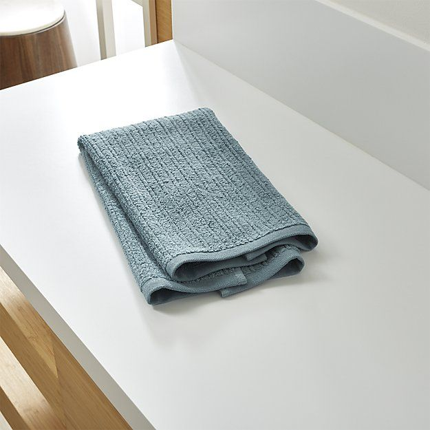Ribbed Teal Hand Towel | Crate and Barrel