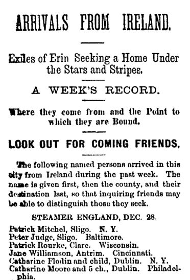 """Passenger list, published in the Irish Nation newspaper (New York, New York), 7 January 1882. Read more on the GenealogyBank blog: """"GenealogyBank Is the Only Source of This Irish Passenger List Information."""" http://blog.genealogybank.com/genealogybank-is-the-only-source-of-this-irish-passenger-list-information.html"""
