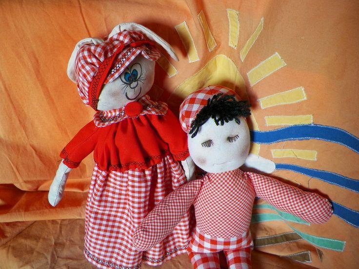 coppia bambolotti artigianali bimbo e coniglietta : Giochi, giocattoli di nesel
