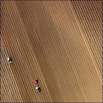 An amazing aerial view of a ploughed field.