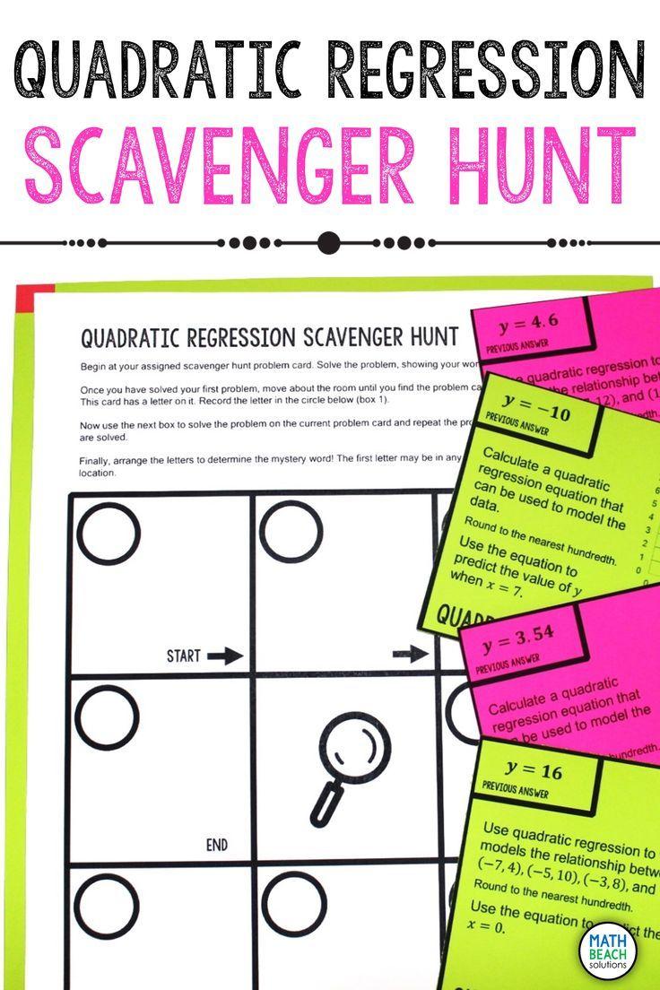 Quadratic Regression Scavenger Hunt Activity In 2020 Quadratics Algebra Worksheets Algebra Resources