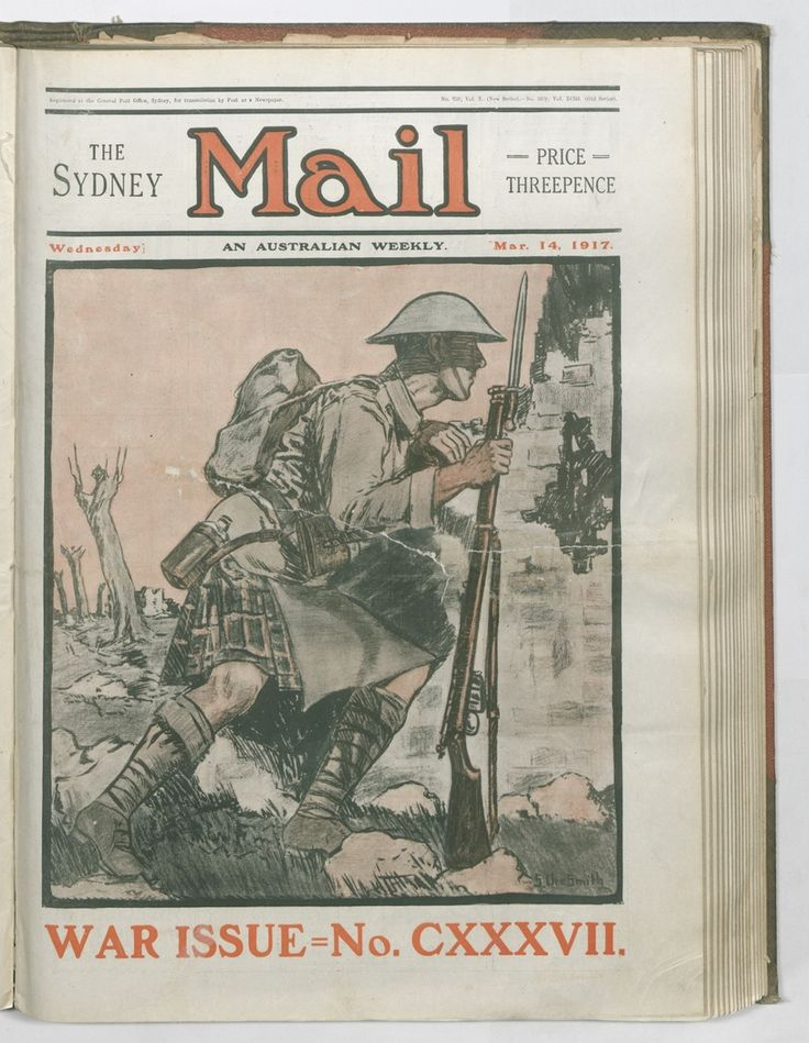 Sydney Mail front cover by Sydney Ure Smith, 14 March 1917. To order a fine art print of this image, please call the Library Shop on 61 2 9273 1611, quoting digital order number a9609137. http://acms.sl.nsw.gov.au/album/albumView.aspx?itemID=1064155&acmsid=0, image no. 137.