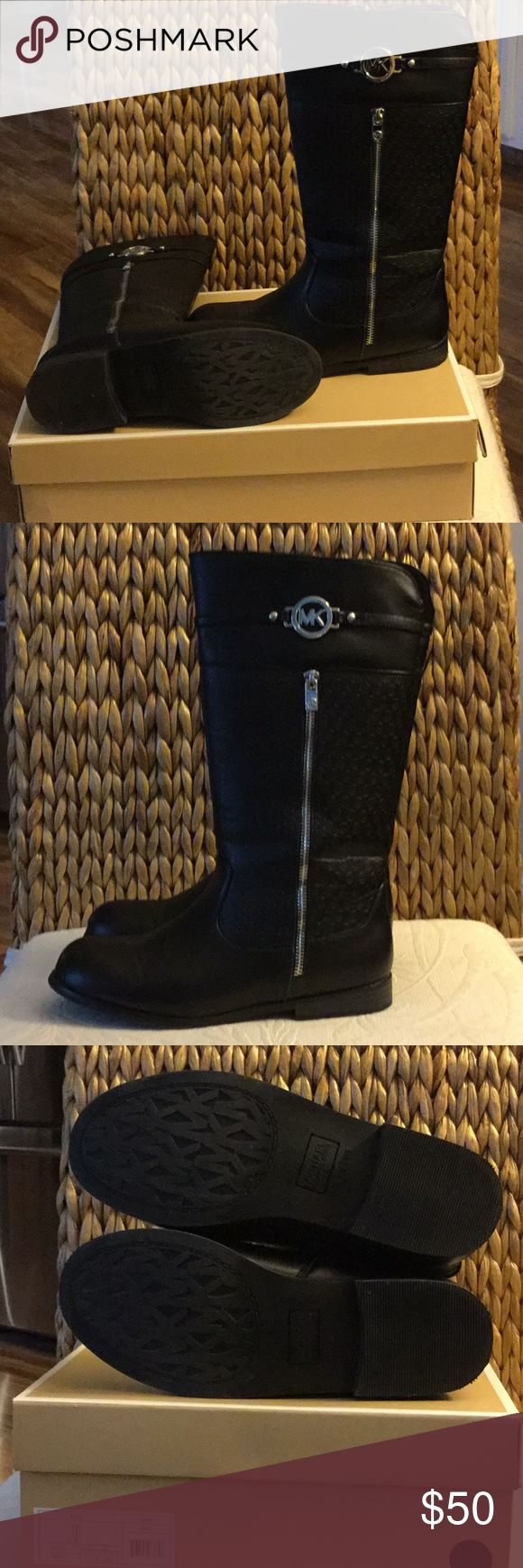MK boots MK boots mid calf. Size 5 girls but, I am a size 7 woman and fit me perfect. Only worn a couple of times. Small scuffs on inside of each boot as shon in pic #4 Michael Kors Shoes Heeled Boots