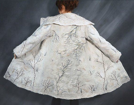 Hand felted winter wool coat WHITE CHRISTMAS by ChicComplement, $1100.00